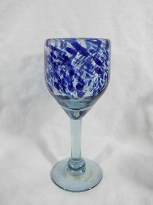 Bennington Potters Go-Along Clear w/ Blue Streaks Glass Goblet Made in Mexico