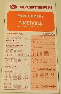 3 Eastern Airlines Timetables for Houston,  Montgomery, Winston Salem 1975