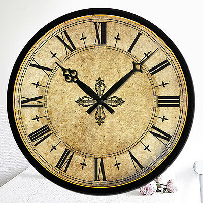 """Rustic Vintage Style Wooden Round French Country Paris Large 15"""" Wall Clocks"""