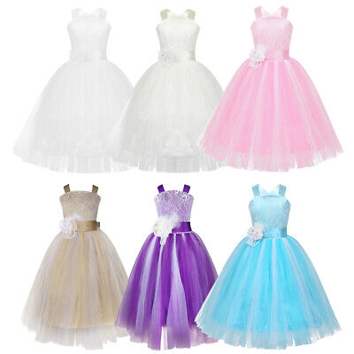 Flower Girls Princess Dress Kids Party Wedding Pageant Bridesmaid Formal Dresses