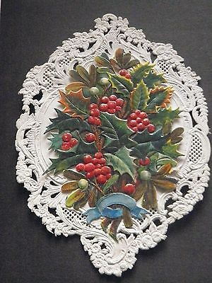 Victorian antique Christmas card Paper Lace and Holly