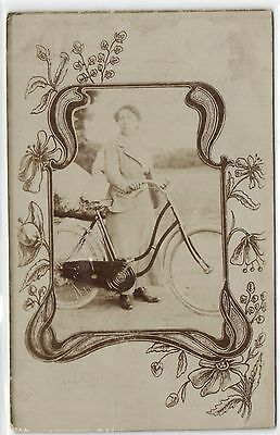 Bicycle, Elegant Lady with an Old Bicycle, Old Postcard