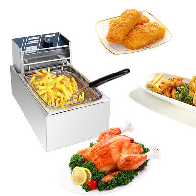 2500W Electric Countertop Deep Fryer Single Basket French Fry Restaurant Bar 6L
