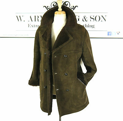 Men's BAILY'S Brown REAL SHEEPSKIN LEATHER Shearling 70s MOD BOHO Chunky Coat M