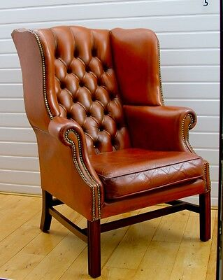 Chesterfield Queen Anne High Back Wing Chair in Vintage Tan Leather Very Comfy