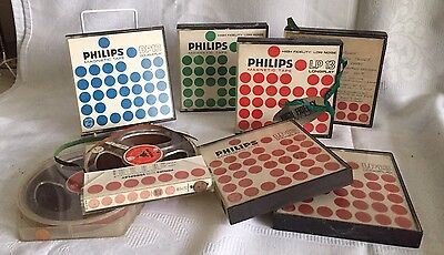 Eight  Vintage Reel To Reel Magnetic Recording Tapes  - Phillips LP13 SP13 DP13