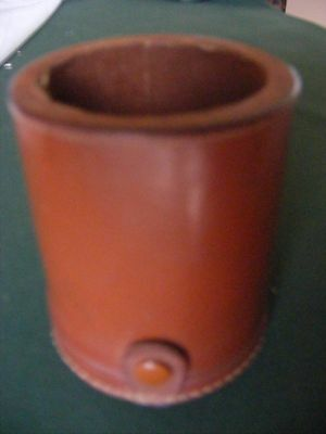 """Vintage Leather Travelling Dice Shaker Cup Bottom Storage  4 1/8"""""""