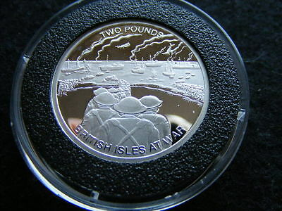 GUERNSEY 2 POUNDS 2010 SILVER PROOF BRITISH ISLES AT WAR 10 grams