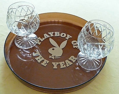 RARE Collectable Vintage PLAYBOY OF THE YEAR Drinks Tray. Retro. CHARITY SALE