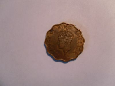 "- British  India - "" One  Anna "" Coin - Rare - 1945 - George Vi - Nickel-Brass"