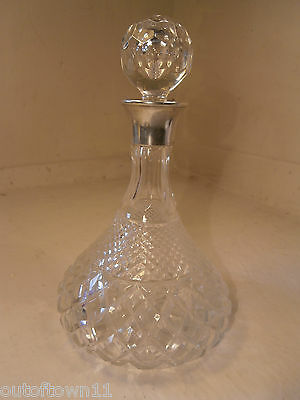 Silver topped Cut Glass Ships Decanter    ref245