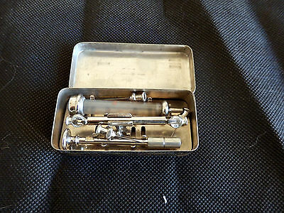 Vintage small Glass & chrome syringe in case with six needles
