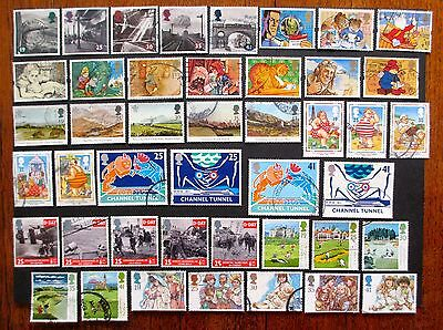 GB 8 COMPLETE USED COMMEMORATIVE SETS 1994 Steam Railway, Golf, Tunnel 44 stamps