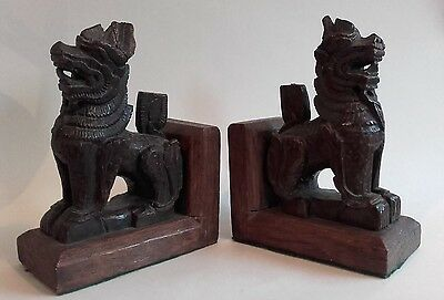 Pair of Antique, Hand Carved Burmese Wood Carvings, Lion Dog Figures ~ Bookends