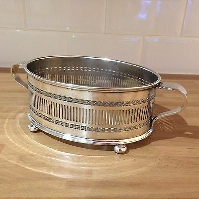 antique silver plated oval tureen / serving dish holder ball feet