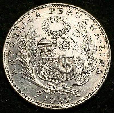1935 Lima Silver Peru 1/2 Sol Seated Liberty Coin - Uncirculated Condition