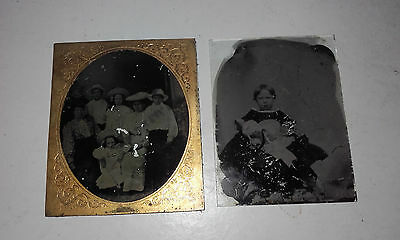 2 X Real Photo Antique/victorian Glass Slide Photograph(Family Group/girl)