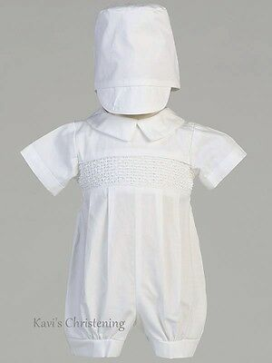 Boys White Baptism Christening COTTON Outfit Smocked Romper w/ Hat Size 0-24M