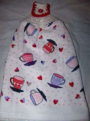 Valentine's Day Dish Hand Kitchen Towel With Crocheted Top -Latte/coffee Cups