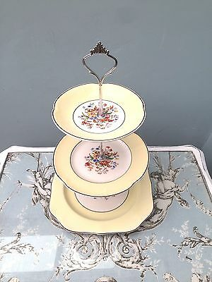 Cake Stand 3 Tier Johnsons Pareek Yellow Floral Vintage Shabby Chic Tea Party