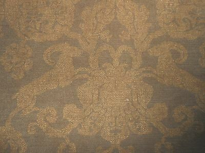 "40"" new chenille fabric DEER SCROLL medallions design metallic gold on truffle"