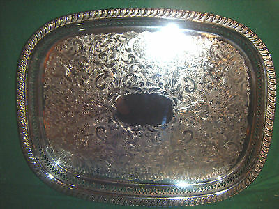 LARGE vintage SILVER PLATED rectangular DRINKS/SERVING TRAY chased w/GALLERY vgc