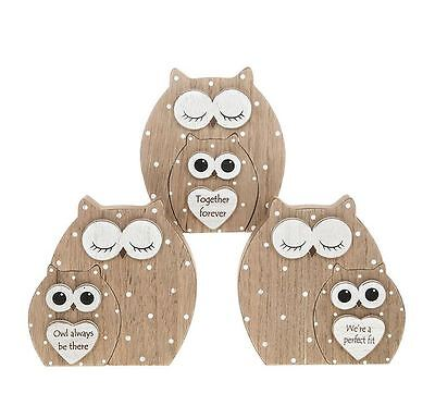 Double Dreamy Owls Wooden Figure Set each Sold Individually