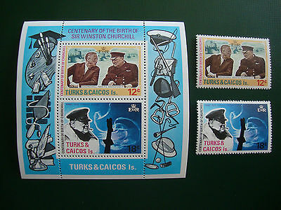 Churchill Birth Centenary 1974 Turks & Caicos Is. stamp set & Miniature Sheet