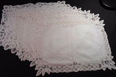 7 Vintage White Linen Place Mats W/hand Made Brussels Tape Lace, 2 Patterns