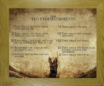 The 10 Ten Commandments Print Oak Mdf Frame - Candles Statues Crucifixes Listed