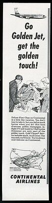 1963 Continental Airlines Deluxe First Class stewardess steward system map ad