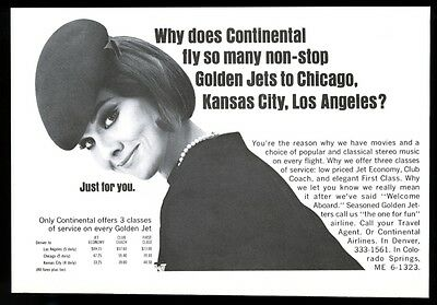 1965 Continental Airlines stewardess photo & fare chart vintage print ad