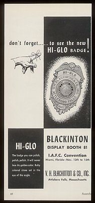 1956 Blackinton police & fire department badge vintage print ad