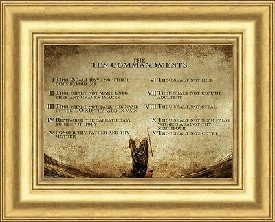 The 10 Ten Commandments - Framed Print Gold Moulded Frame Statues Candles Listed