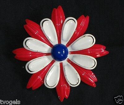 Vintage Large White Red Enamel Metal Flower Brooch/Pin