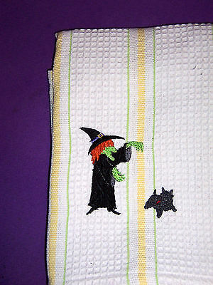 Wizard of Oz Cairn Terrier Embroidered Striped Kitchen Towel Witch & Toto