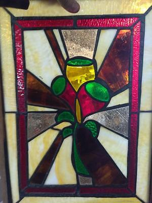 Antique Old Leaded Stained Glass Window Art Glass Vintage Framed