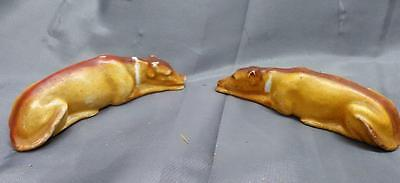 Pair of two 2 Antique Old Dog Statues Porcelain Whippets Greyhounds Dogs Set