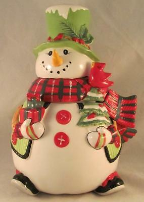 Fitz and Floyd 2013 Holly Hat Snowman Cookie Jar