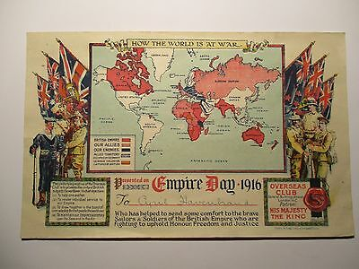 Empire Day 1916 - World At War Map - Overseas Club Certificate
