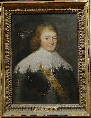 17th Century English Master Portrait Sir Bevil Grenville Antique Oil Painting