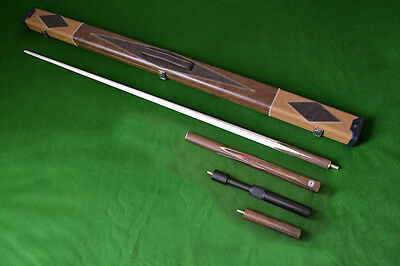 Handmade 3/4 Ash Snooker / Pool Cue + Extensions + Case