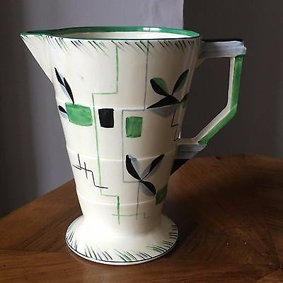 Art Deco 1930's handpainted Grindley flower jug / vase - stepped geometric shape