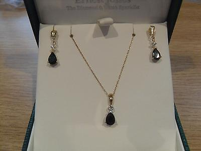 9ct  Gold genuine Black Sapphire Earrings and Pendant set  **New**