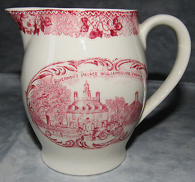 Vintage English Staffordshire Adams Pottery WILLIAMSBURG VIRGINIA PITCHER RED