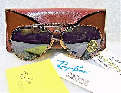 """Ray-Ban *nos Vintage B&l Aviator """"leathers"""" *tgm Driving General *new Sunglasses"""