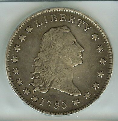 1795 Flowing Hair Silver Dollar, 2 Leaves   Icg F15