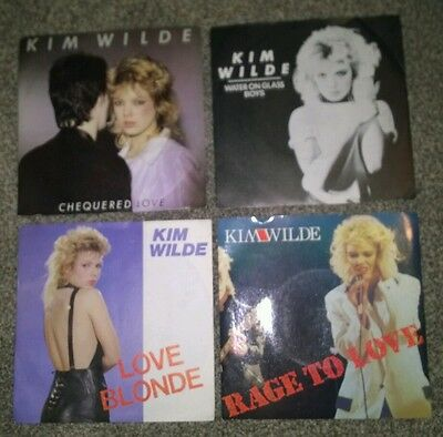"KIM WILDE ~4x 7"" Vinyl Singles ~*Rock Chic Star of 80's,bring back memories!*~"