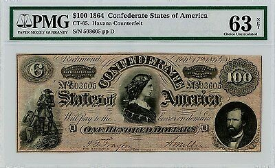 CT-65 $100 1864 Confederate States of America Ch Unc63NET PMG Havana Counterfeit
