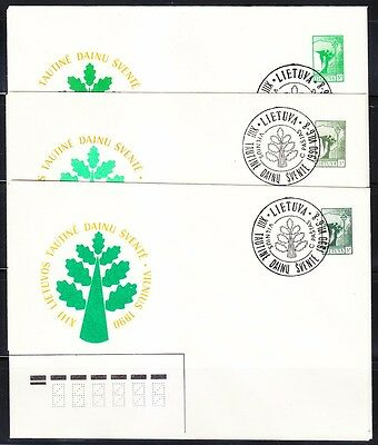 Lithuania 1991 set of 3 different stamp's color covers.See large scan.Variety